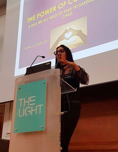 Image of Dr Mine Conkbayir giving a presentation on co-regulation at The Light